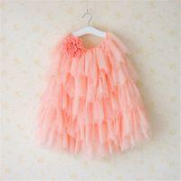 fallen farbtulle großhandel-Everweekend Girls Tutu Flower Röcke rosa und weiße Farbe Kuchen Röcke Sommer Herbst Prinzessin Rüschen Tüll Party Kleidung