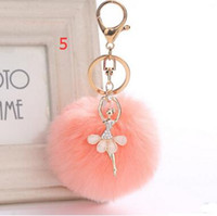 Wholesale Ballerina Keychain - 3.15 Inch Girl Women Fur Ball Rhinestone Ballerina Keychain Ballet Dancing Girl Handbag Accessories Car Key Chain For Bag 30pcs free shippin