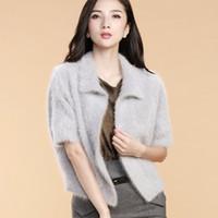 Wholesale Cashmere Knitted Shawl Wraps - Wholesale- Fashion Cardigan Women Sweatermink Cashmere Wrap Swing Shawl Long hair loose Sweater Coat Shawl sweater Free Shipping
