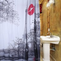 Wholesale Red Bathrooms - 180*180cm Polyester Shower Curtain Home Hotel Bathroom Decoration Eiffel Tower Red Lip Waterproof Bath Curtain Cloth