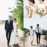 Wholesale Ivory Dress Lace Bottom - Amazing Lace Bohemian Country Wedding Dresses 2017 Scoop Cap Sleeve Summer Beach A line Wedding Gowns Cheap Covered Bottom Custom make
