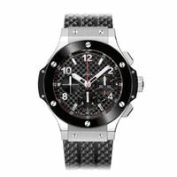 Wholesale Rubber Watches Sports - Famous Brand Soft Rubber Strap Sport Men's Watches High Quality Ceramic Bezel Fashion Quartz Chronograph Wristwatches