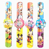 Wholesale Gifts For Baby Boy Party - Wholesale- 12PCS Cartoon Mickey Slap Bracelets Kids birthday party supply gift for girl boy souvenirs baby shower favors