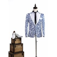 Wholesale chinese neck suits for men resale online - Brand New Chinese Style Blue And White Pattern Singer Performance Prom Costumes Slim Suit For Men