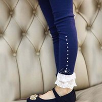 Wholesale Girls Lace Ruffle Leggings - Winter baby girls beige blue pink lace trim ruffle rhinestone flower leggings kids princess cotton leggins
