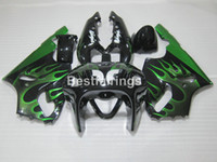 kit carenado moto kawasaki zx7r al por mayor-Carenados de plástico de la motocicleta para Kawasaki Ninja ZX7R 96 97 98 99 00-03 llamas verdes kit de carenado negro ZX7R 1996-2003 TY33