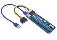 cable elevador de pcie al por mayor-PCIe PCI-E PCI Express Riser Card 1x a 16x USB 3.0 Data Cable SATA a 4Pin IDE Molex Fuente de alimentación para BTC Miner Machine DHL gratis