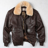 Wholesale Force Leather Jacket - fly air force flight jacket fur collar genuine leather jacket men winter dark brown sheepskin coat pilot bomber jacket