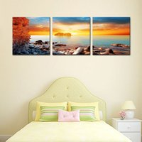 Barato Arte Suspensão Seascape-3 Panels Wall Art Canvas Painting Sunset Seascape Picture Arte moderna para Home Living Room Decor com madeira emoldurada Pronto para pendurar