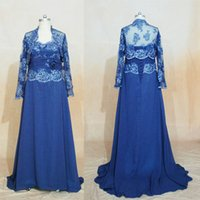 Wholesale strapless lace wedding dress jacket - Navy Blue Mother of Bridal Gowns 2017 Wedding Guest Dress Lace Appliques A-line Sweetheart Chiffon with Jacket Evening Dresses Real Images