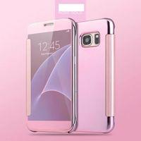 galaxy s5 cüzdan örtüsü toptan satış-Ayna Temizle SMART Görünüm Flip Case Elektrolizle kaplı Cüzdan deri Kapak için samsung Galaxy S5 S6 S6 KENAR S6 KENAR ARTı S7 S7 KENAR 100 ADET