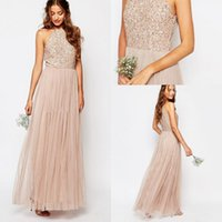 2017 New Champagne Bohemia Halter Neck Tüll Lange Brautjungfer Kleider Sparkly Sequins Hochzeit Trauzeugin Party Kleider Made Made