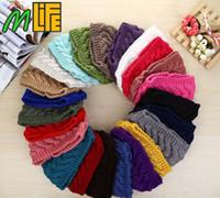 Wholesale Crochet Beachwear - Winter Beauty Fashion 24 Colors Flower Crochet Knit Knitted Headwrap Headband Ear Warmer Hair Muffs Band Q1
