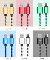 Wholesale Usb Micro B Male - Braided TYPE C Micro USB Cable 1M 3Ft Nylon 2.0 Male to Micro B Data Sync Quick Charger Cord For I phone Samsung
