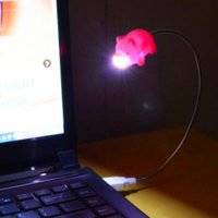 Wholesale Pink Laptops For Kids - Wholesale- USB gadget 5V USB lamp LED with switch Energy saving Foldable hose Cute Little pink pig light for kids child room PC laptop