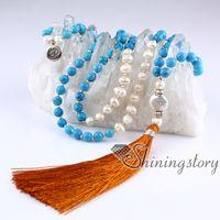 ingrosso braccialetto indiano maschio-collana di perle d'acqua dolce mala collana di perline 108 mala braccialetto indiano perline di preghiera perle di meditazione gioielli di perle online