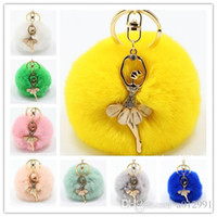 Wholesale Real Rabbit Fur Ball Keychain Soft Fur Ball Diamond little angel Key Chains Ball Poms Plush Keychain Car Keyring Bag Earrings Accessories