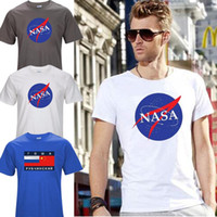 Wholesale New Fashion Style Clothes - Top Quality Nasa Fashion T Shirt New Summer Style Printed Cotton Men T-shirt Space Clothing Tops Tees T01 Mens T Shirts For