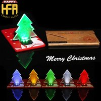 Wholesale Led Greeting - Creative Christmas Cards Thin Card Light LED Christmas Tree Flashing Gifts Greeting Cards Folding Pocket Card LED Light