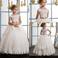 Wholesale boat neck wedding dress black ribbon online - 2017 Glitz Flower Girls Dresses Boat Neck A Line Lace Appliqued With Ribbon Belt Layers Skirts Long Kids Birthday Baby First Communion Dress