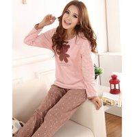 Wholesale Home Woman Pajamas - Wholesale- Animal Cartoon Pajamas pyjama femme Spring Autumn Winter pijamas women pyjama set COTTON pajamas home clothes for women