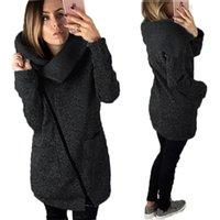 Wholesale Women Warm Winter Clothing - Fashion Plus Size Women Hoodies Sweatshirts In Winter Casual Cardigan Sweatshirt Loose With Solid Long Sleeve Zipper Warm Woman Clothes