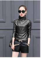 Wholesale Leather Women Long Sleeve Shirt - Plus size 4XL women blouse fashion elegent Turtleneck long sleeve shirt female tops 2017 new spring pu Leather