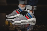 Wholesale Online Media - 2017 high quality NMD Runner R1 Primeknit PK Tri-Color Red white blue Men Women Running Shoes Classic sports Sneakers Shoes us 5-10 online