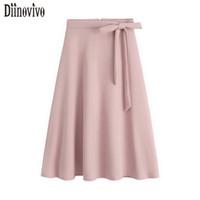 Wholesale Bowknot Belt Skirt - New Spring Summer Women Elegant Medium Long Skirts Fixed Belt Black Pink Apricot Bowknot Zipper A-Line Skirts Female Saia 398