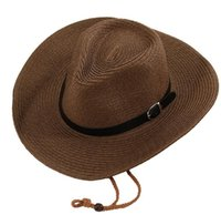 Wholesale american wide brim hat for sale - Group buy Straw Braid Men Cowboy Hats with Buckle Western American Mens Hat Lady Beach Hats Solid Khaki