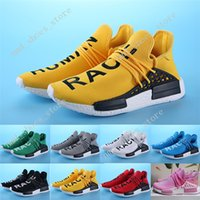 Wholesale Patent Leather Upper - 2017 HOT New Arrivals Orignal NMD Human Race Runner Sports Running Shoes Human Race knit upper sneakers Yellow color with box free shipping
