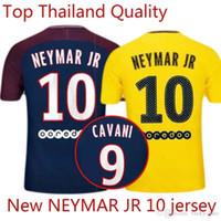 Wholesale Drying Kits - NEYMAR JR 10 CAVANI DI MARIA VERRATTI Shirt Home blue Away 17 18 Soccer Jerseys Custom Football Uniforms Kit Thai Quality Size: S-XXL