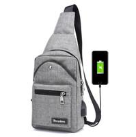 Wholesale black man bag resale online - Men Chest Bag USB Charging Canvas Single Shoulder Bags External Charging Student Cross body Travel Bag Colors OOA2897
