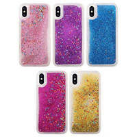 Bling Glitter Liquid Soft TPU Case pour Iphone X IphoneX Silicone Diamond Sparkle Quicksand Star Clear Cell Phone Housse de mode