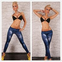 Wholesale Stretch Jeans Leggings For Women - LuLu Leggings For Women High Waist Tights Fitness Leggings Jeans Cheap Ripped Denim Graffiti Printed Stretch Thiny Long Pants J160433