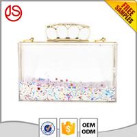 Wholesale Hot Girls Transparent - 2017 hot sale Jiashun custom design acrylic ladies girls clear transparent liquid clutch bag for party