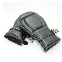 Wholesale Gloves Mittens Adult - Adult Game Locking Goth Padded Mittens Gloves Dog Paw Palm Leather Bondage Restraints Sex Toys For women men Couples Products