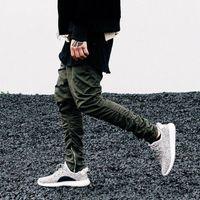 hombres con cremallera cadena al por mayor-Hombres Jogger Justin Bieber KANYE WEST Negro Verde Gris Caqui Cremallera lateral Harem Pantalones Mono para hombre Parte inferior de goma Hip Hop P01