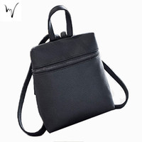 Wholesale Cheap Cute Small Bag - Zipper Women Leather Small Bag Solid Style Waterproof Simple Cute Casual Female Backpacks Friend Factory Chic Fresh Discount Cheap Bags