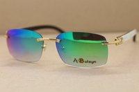 Wholesale Fashion Sunglasses Manufacturers - Manufacturers wholesale Rimless Black Mix White Genuine horn Glasses designer luxury Sunglasses Frame Size:60-18-140 mm