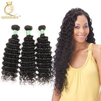 Wholesale Virgin 1b - Brazilian Virgin hair Weave Bundles Deep Wave 1B No Shedding No Shedding Unprocessed Remy human hair extension Queenlike Silver 7A Grade