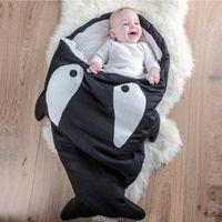 Wholesale Thick Baby Pajamas - Whale Newborn Sleepsacks Thick Baby Blankets Shark Fish Infant Robes Quilt Bed Boys Envelope Sleep sack Girls Sleeping Bag 0-2Years Pajamas