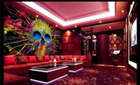 Wholesale Korean Style For Kids - Customize Size Modern Wall Paper Background Hip Hop Color Graffiti Skull Art Wall Covering Decor Living Room Mural Wallpaper