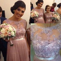 Wholesale Ivory Caps Skin - 2017 Popular Bridesmaid Dresses With Sheer Neck Appliques Pearls Chiffon Skin Pink Plus Size Prom Party Dress Maid Of Honor
