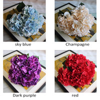 Wholesale Artificial Hydrangea Flower Head cm Fake Silk Single Real Touch Hydrangeas Colors for Wedding Centerpieces Home Party Decorative Flowers