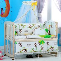 Wholesale Baby Bedding Curtain Set - On sale 5 Pcs sets animal baby bedding set 100% cotton curtain crib bumper 100*60cm washable baby bed bumper