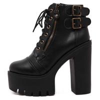 Wholesale russian women sale - Hot Sale Russian Shoes Black Platform Martin Boots Women Zipper Spring High Heels Shoes Lace Up Ankle Boots Size 35-39