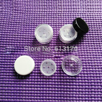 Wholesale Mini Plastic Jars Free Shipping - Wholesale 100pcs lot 1g Mini sifter jars 1ml Loose powder jar Cosmetic Jar with Sifter Mesh cosmetic container free shipping