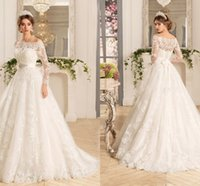 Wholesale Dresses One Sleeve Custom Made - New Arrival 2017 Lace Wedding Dresses Long Sleeves Off the Shoulder Wedding Bridal Gowns with Zipper Bow Knot Long Bridal Dresses Custmize