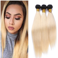 9A Brazilian Blonde Ombre Virgin Human Hair 3Pcs Silky Straight Weaves Extensions Two Tone 1B / 613 Bleach Blonde Ombre Pacotes de cabelo humano
